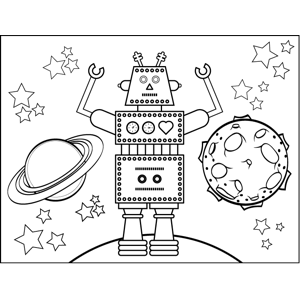 Robot and Planets coloring page