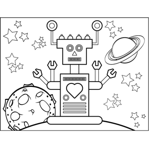 Robot in Space coloring page