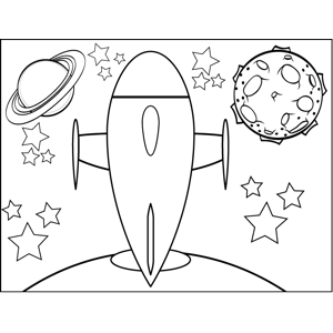 Rocket on Planet coloring page