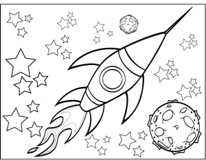 Rocketship and Planet Coloring Page