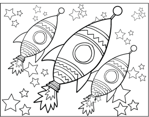 Rocketship and Stars coloring page