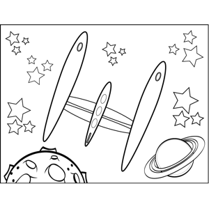 Rocketship in Space coloring page