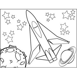 Rocketship in the Stars coloring page