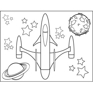 Rocketship with Two Thrusters coloring page