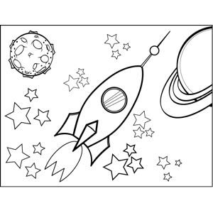 Rocketship with Window coloring page