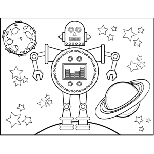 Space_Travel Droid coloring page