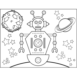 Space_Travel Robot coloring page