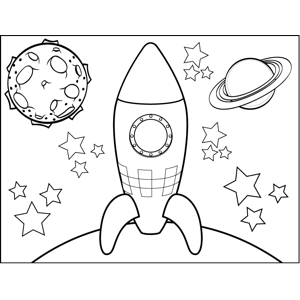Space_Travelship Landing on Planet coloring page