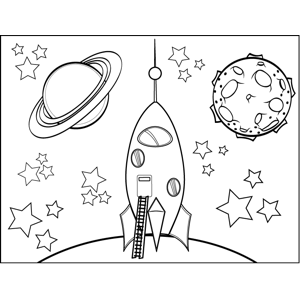 Space_Travelship with Ladder coloring page