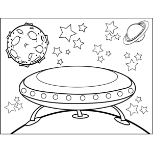 UFO Landing on Planet coloring page