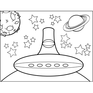UFO in Space coloring page