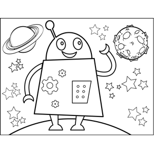 Waving Robot coloring page