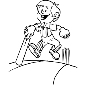 Boy and Cricket Bat coloring page