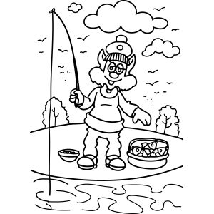 Cat Goes Fishing coloring page