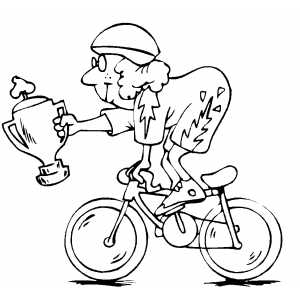 Cyclist With Trophy coloring page
