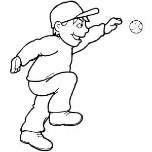 Smiling Baseball Player coloring page