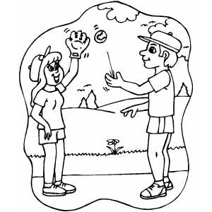 Softball Players Training coloring page