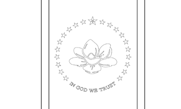Mississippi State Flag Coloring Page