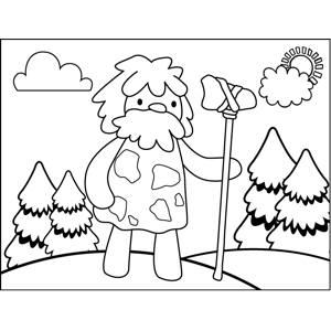 Bearded Caveman coloring page