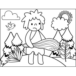 Caveman with Club coloring page