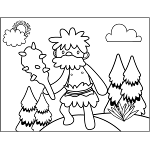 Caveman with Spiked Club coloring page