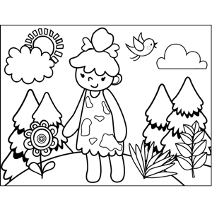 Cavewoman with Flowers coloring page