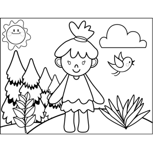 Happy Cavewoman coloring page
