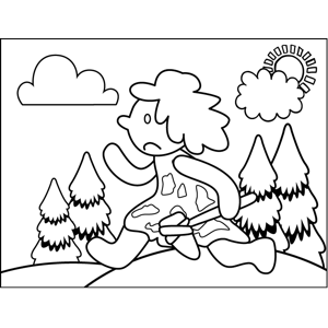 Sad Running Caveman coloring page