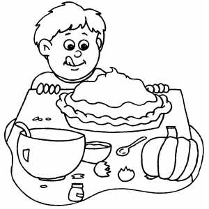 Boy And Pumpkin Pie coloring page
