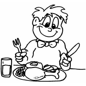 Boy Prepared To Thanksgiving Dinner coloring page