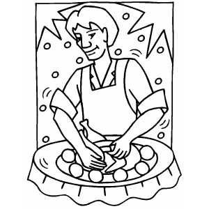 Carving The Turkey coloring page