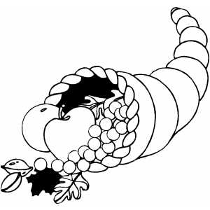 Cornucopia With Apples coloring page