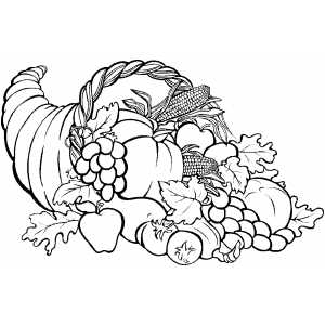 Cornucopia With Grapes Coloring Page