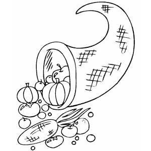 Cornucopia With Vegetables coloring page