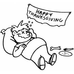 Feeling Stuffed And Happy coloring page