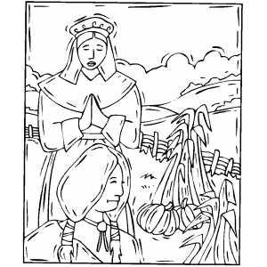 Native American And Piligrim coloring page