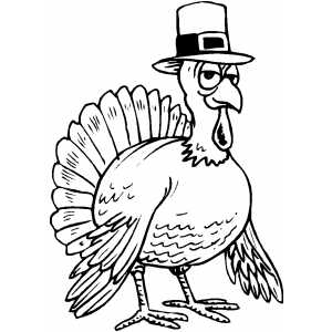 Turkey Wearing Hat coloring page