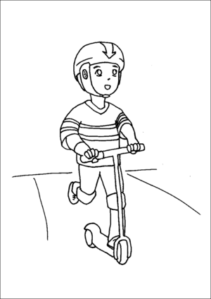Boy Riding Razor Scooter coloring page