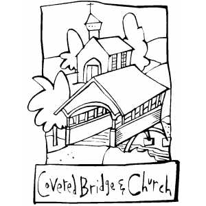 Covered Bridge And Church coloring page