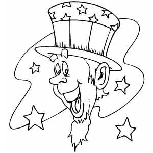 Uncle Sam Head coloring page