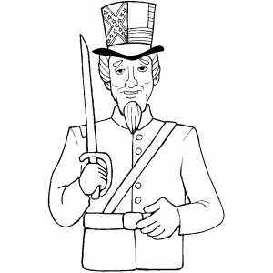 Uncle Sam With Sword coloring page