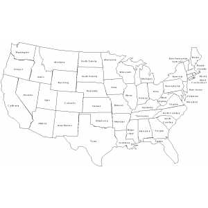 USA Map With States Names coloring page