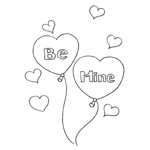 Be Mine Balloons coloring page