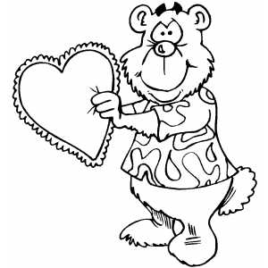 Bear With Heart Pillow coloring page