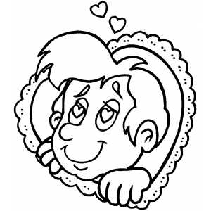 Boy And Heart coloring page