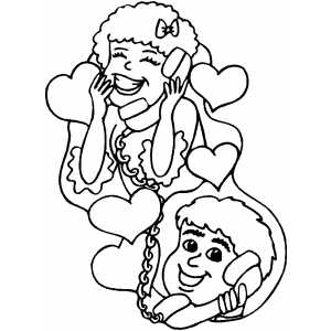 Couple On Phone coloring page