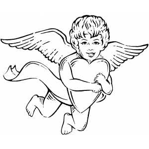 Cupid Holding Heart coloring page
