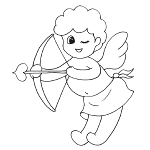 Cupid Winking coloring page