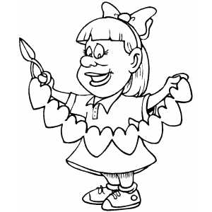 Girl And Heart Cut Outs coloring page