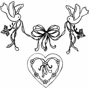 Heart And Birds Design coloring page